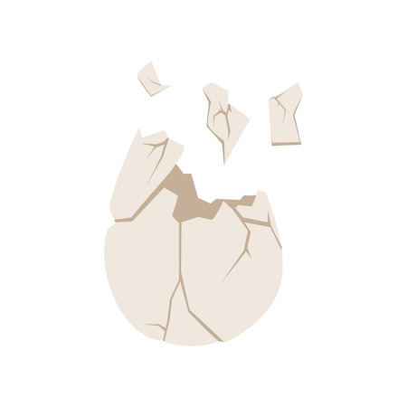 Broken egg shell, organic garbage, utilize waste concept vector illustration on a white background.