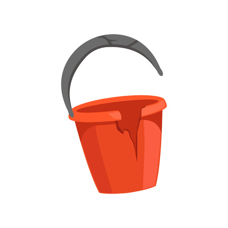 Broken bucket, recycling garbage concept, utilize waste vector illustration on a white background.
