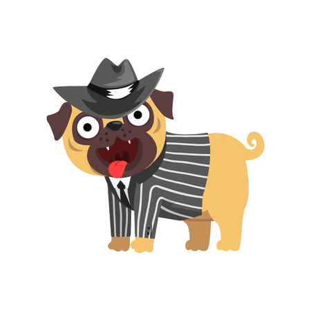 Funny pug dog character dressed as gentleman, funny dog in black hat and striped jacket vector illustration on a white background. Illustration