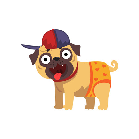Funny pug dog character wearing in baseball cap and pants vector Illustration on a white background Illustration