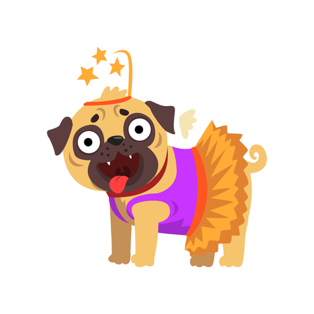 Funny pug dog character dressed as fairy, funny dog in dress with wings and headgear vector Illustration on a white background