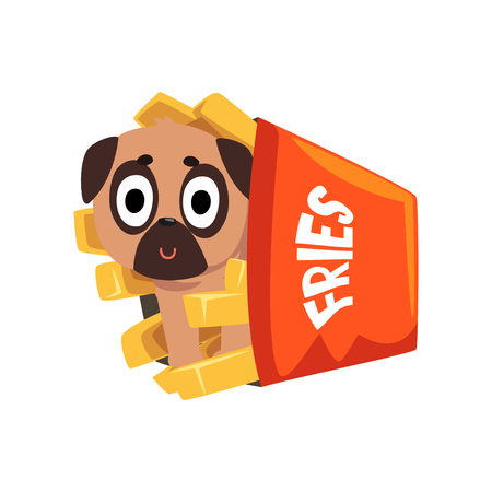 Cute pug dog sitting in a paper box of French fries, funny dog character inside fast food product vector Illustration on a white background