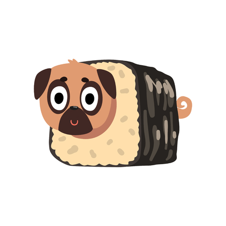 Cute funny pug dog character inside sushi roll vector Illustration on a white background