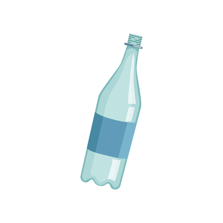 Empty lastic bottle, recycling garbage concept, utilize waste vector Illustration on a white background