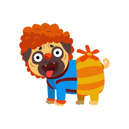 Funny pug dog character dressed as Carlson, funny dog with a propeller vector Illustration on a white background Illustration