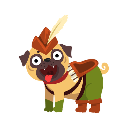 Funny pug dog character dressed as Robin Hood, funny dog in green costume vector Illustration on a white background Çizim