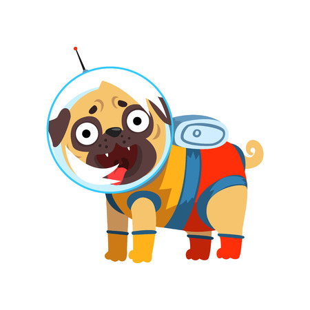 Funny pug dog character dressed as spaceman vector Illustration isolated on a white background. Illustration