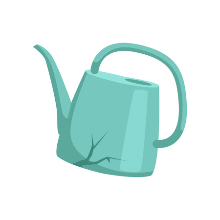 Broken watering can, recycling garbage concept, utilize waste vector Illustration isolated on a white background.