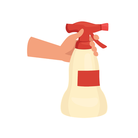 Hand holding cleaning spray bottle, human hand with tool for cleaning, housework concept vector Illustration isolated on a white background.