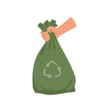 Main tenant le sac poubelle en plastique vert, recyclage des ordures et vecteur d'utilisation Illustration sur fond blanc Banque d'images - 99791676