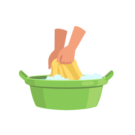 Washing clothes in green basin by hands, cleaning and housework concept vector Illustration on a white background