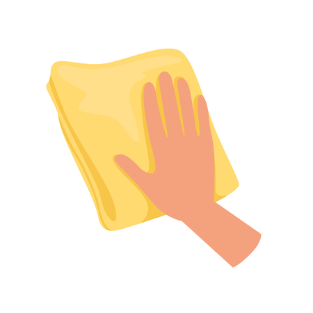 Hand holding yellow rag, human hand with tool for cleaning, housework concept vector Illustration isolated on a white background.