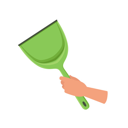 Hand holding green plastic scoop, human hand with tool for cleaning, housework concept vector Illustration isolated on a white background.