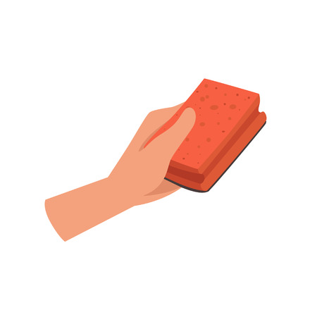Hand holding a cleaning sponge, human hand with tool for cleaning, housework concept vector Illustration isolated on a white background. Illustration