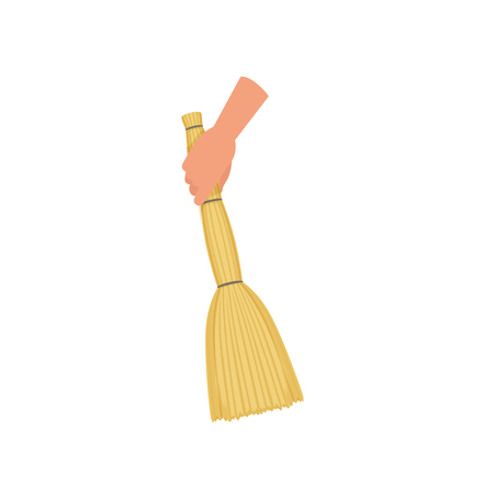 Hand holding sweeping broom, besom, human hand with tool for cleaning, housework concept vector Illustration isolated on a white background.