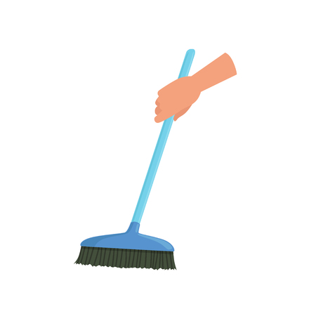 Hand holding blue sweeping broom, human hand with tool for cleaning, housework concept vector Illustration isolated on a white background.