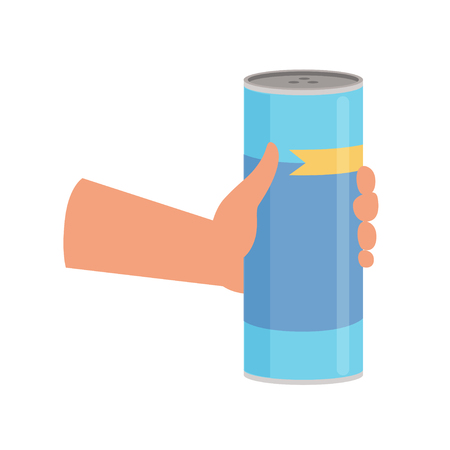 Hand holding bottle with cleaning powder, cleaning and housework concept vector Illustration on a white background