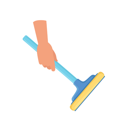 Hand holding window cleaning tool, housework concept vector Illustration on a white background