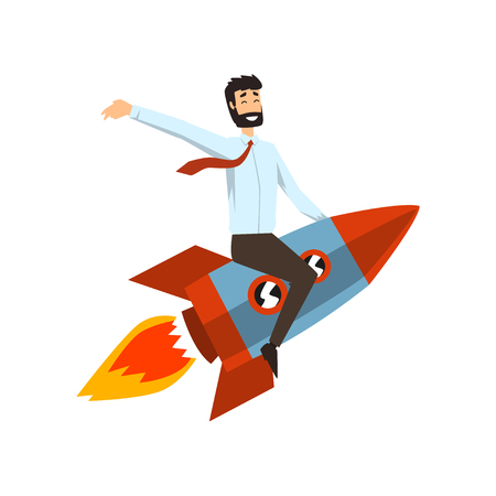 Successful businessman on a rocket, start up business project concept, development process vector Illustration on a white background