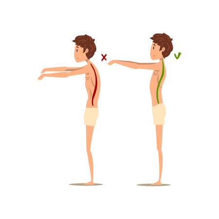 Correct and wrong spine posture, side view vector Illustration on a white background