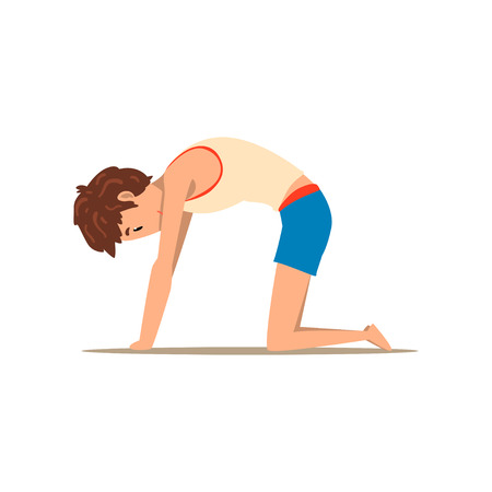 Boy in Cat yoga pose, Marjaryasana, rehabilitation exercise for back pain and improving posture vector Illustration on a white background Ilustração