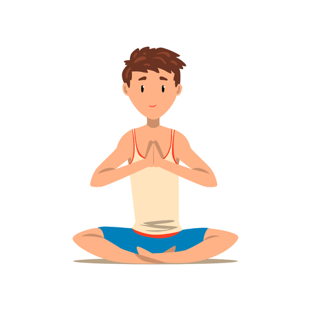 Boy sitting in Lotus yoga pose, exercise for back pain and improving posture vector Illustration on a white background Stock Illustratie