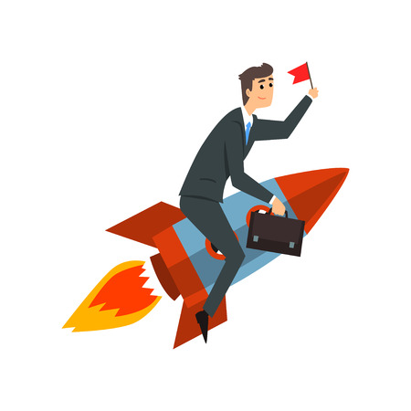 Businessman with flag riding on a rocket, successful start up business project, development process vector Illustration on a white background