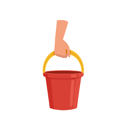Hand holding red bucket, human hand with tool for cleaning, housework concept vector Illustration on a white background