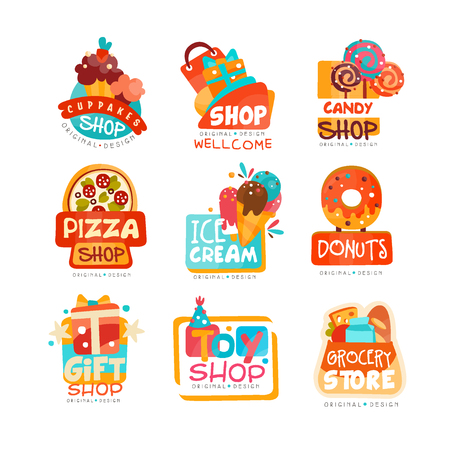 Collection of various shops logo templates set, emblem for cupcake, candy, pizza, ice cream, donut, gift and toy market vector Illustrations on a white background Stock Illustratie