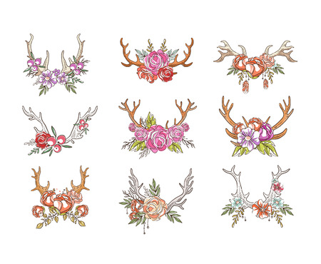 Deer horns with flowers set, hand drawn floral composition with antlers vector Illustrations isolated on a white background.