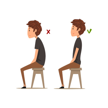 座るための正しい、最悪の位置、椅子に座っている少年、白い背景に姿勢ベクトルイラスト