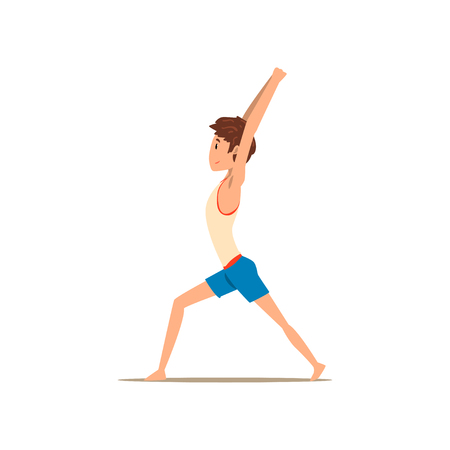 Boy in Warrior yoga pose, Virabhadrasana, rehabilitation exercise for back pain and improving posture vector Illustration on a white background