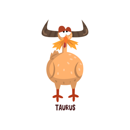 Taurus zodiac sign, funny chick character, horoscope element vector Illustration isolated on a white background. Foto de archivo - 99643188