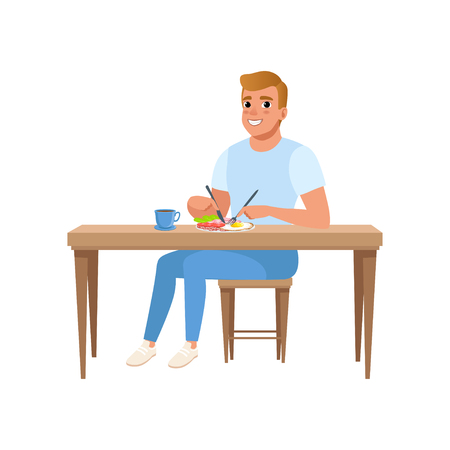 Young man having breakfast, people activity, daily routine vector Illustration on a white background