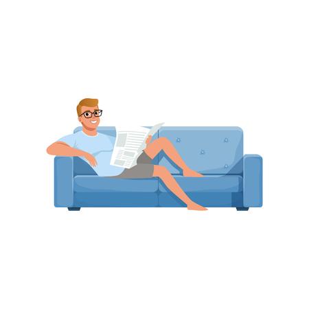 Jeune homme assis sur un canapé bleu et lisant le journal, l'activité des gens, vecteur de routine quotidienne Illustration sur fond blanc Banque d'images - 99642395