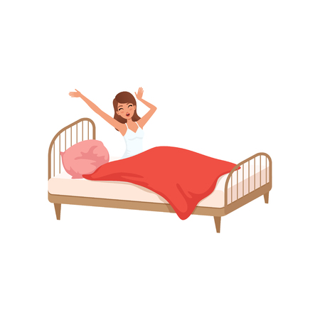 Young woman waking up beginning a good day, people activity, daily routine vector isolated Illustration on a white background.
