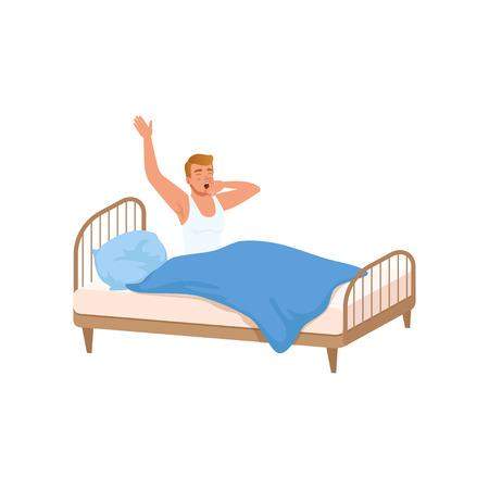 Jonge man wakker begint een goede dag, mensen activiteit, dagelijkse routine vector geïsoleerd illustratie op een witte achtergrond.