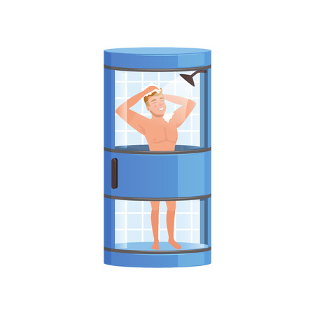 Young man washing himself with soap in a shower, people activity, daily routine vector Illustration isolated on a white background.