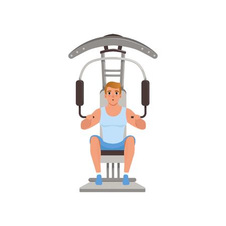 트레이너 체육관 기계, 사람들이 활동, 일상 벡터 일러스트 레이 션 흰색 배경에 고립에 근육을 flexing 젊은 남자.