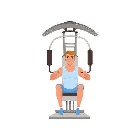 Young man flexing muscles on trainer gym machine, people activity, daily routine vector Illustration isolated on a white background.