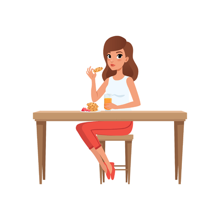 Young woman having breakfast, people activity, daily routine vector Illustration isolated on a white background.  イラスト・ベクター素材