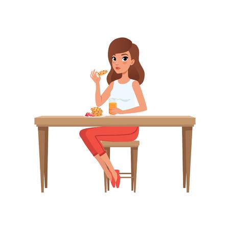 Jonge vrouw aan het ontbijt, mensen activiteit, dagelijkse routine vector illustratie geïsoleerd op een witte achtergrond.