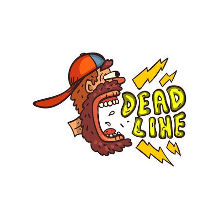 Bearded man screaming Deadline word, time limit, stress and burnout sign vector Illustration on a white background Ilustração