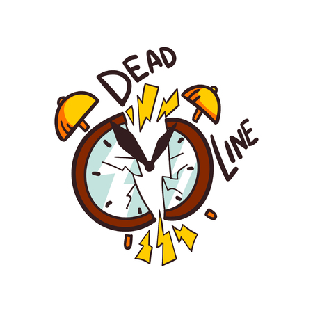 Broken alarm clock and Deadline word, vector Illustration on a white background