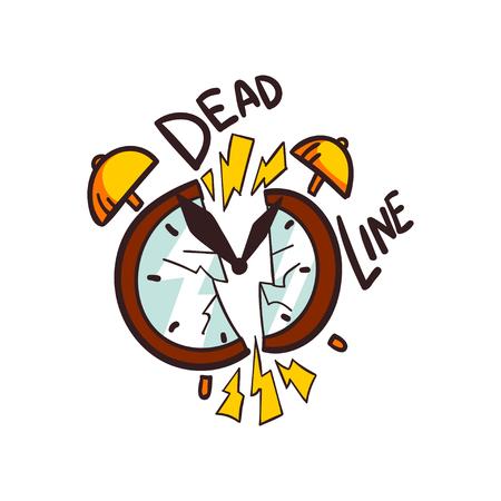 Broken alarm clock and Deadline word, vector Illustration on a white background