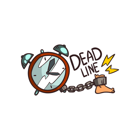 Alarm clock, foot with shackles and Deadline word, time limit vector Illustration on a white background