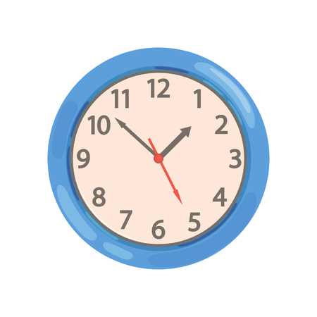 Blue round wall clock vector Illustration on a white background Illustration