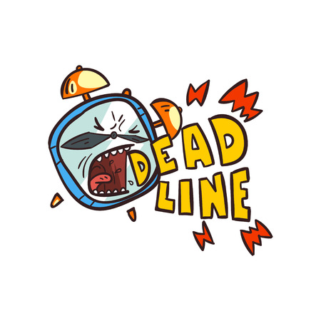Alarm clock screaming Deadline word, time limit vector Illustration on a white background Vectores