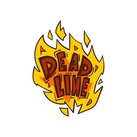 Deadline word in the fire, time limit vector Illustration on a white background
