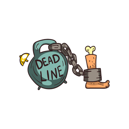 Weight of Deadline chained to a humans foot, time limit vector Illustration on a white background